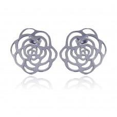 Wholesale Stainless Steel Flower Outline Stud Earring - SSE00009