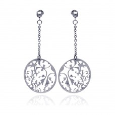 Wholesale Stainless Steel Flower Design Disc Hanging Stud Earring - SSE00014