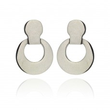 Stainless Steel Open Round Hanging Stud Earring - SSE00017