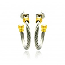 Stainless Steel Gold Plated Two Tone Cable Stud Earring - SSE00024