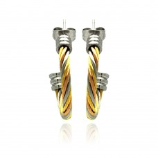 Stainless Steel Multi Tone Cable Stud Earring - SSE00025