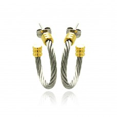 Stainless Steel Two Tone Cable Stud Earring - SSE00026