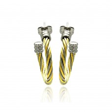 Stainless Steel Two Tone Cable Stud Earring - SSE00027