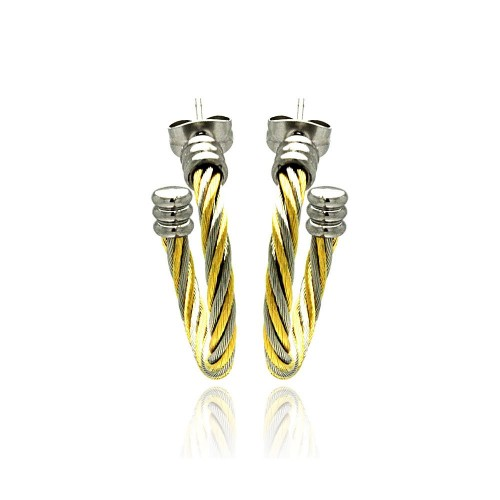 Wholesale Stainless Steel Two Tone Cable Stud Earring - SSE00027