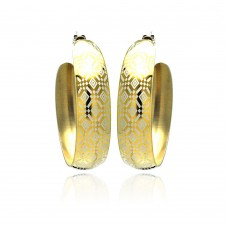 Stainless Steel Gold Plated Diamond Patterned Hoop Earring - SSE00028
