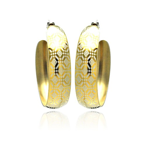 Wholesale Stainless Steel Gold Plated Diamond Patterned Hoop Earring - SSE00028