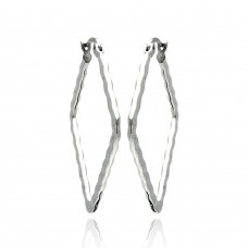 Wholesale Stainless Steel Open Diamond Shape Hoop Earring - SSE00041
