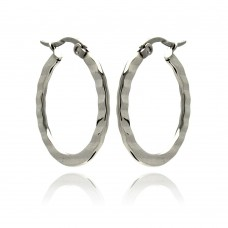 Wholesale Stainless Steel Textured Hoop Earring - SSE00045
