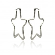 Wholesale Stainless Steel Star Hoop Earring - SSE00050