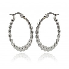 Wholesale Stainless Steel Twisted Rope Hoop Earring - SSE00052
