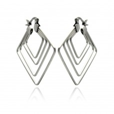 Wholesale Stainless Steel Multi Diagonal Square Hoop Earring - SSE00054