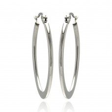 Wholesale Stainless Steel High Polish Oval Hoop Earring - SSE00056