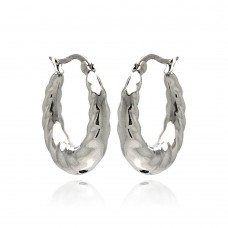 Wholesale Stainless Steel Puffed Diamond Cut Hoop Earring - SSE00057