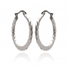 Wholesale Stainless Steel Ridged Hoop Earring - SSE00063
