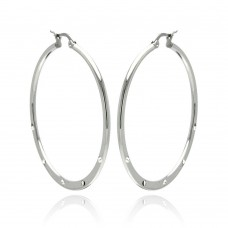 Stainless Steel High Polish 5 Clear CZ Hoop Earring - SSE00065