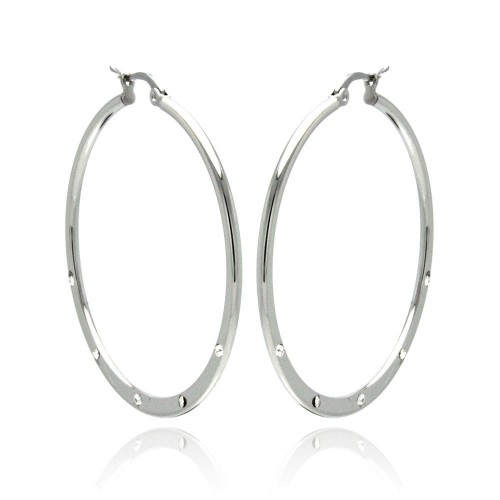 Wholesale Stainless Steel High Polish 5 Clear CZ Hoop Earring - SSE00065