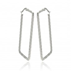 Wholesale Stainless Steel Textured High Polish Rectangular Hoop Earring - SSE00066