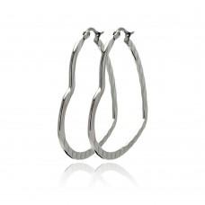 Wholesale Stainless Steel Textured Heart Hoop Earring - SSE00067