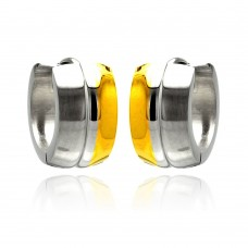 Wholesale Stainless Steel Two Tone Huggie Earring - SSE00069