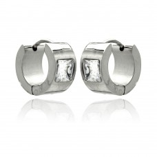 Wholesale Stainless Steel Princess Cut Clear CZ Wide Hoop Earring - SSE00070