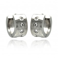Stainless Steel Clear CZ Small Wide Hoop Earring - SSE00071