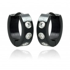 Wholesale Stainless Steel Black Rhodium Clear CZ Hoop Earring - SSE00073