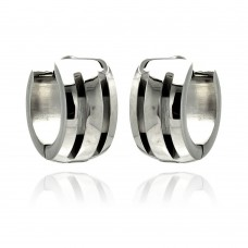 Wholesale Stainless Steel Black Enamel Lines Hoop Earring - SSE00074