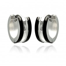 Wholesale Stainless Steel Black Enamel Border Hoop Earring - SSE00077