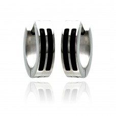 Wholesale Stainless Steel Black Enamel Lines Hoop Earring - SSE00078
