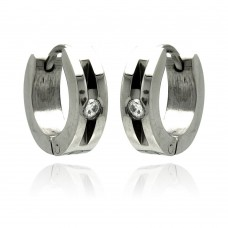 Wholesale Stainless Steel Open Single Clear CZ Hoop Earring - SSE00079