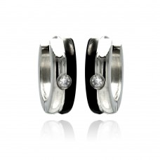 Wholesale Stainless Steel Black Enamel Single Clear CZ Hoop Earring - SSE00081