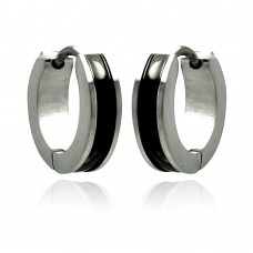 Wholesale Stainless Steel Black Enamel Center Hoop Earring - SSE00082
