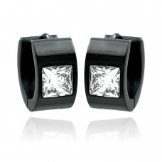Wholesale Stainless Steel Black Rhodium Plated Princess Cut Clear CZ Hoop Earring - SSE00083