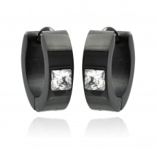Wholesale Stainless Steel Black Rhodium Plated Princess Cut Clear CZ Hoop Earring - SSE00084