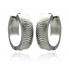 Wholesale Stainless Steel Ripple Lines Hoop Earring - SSE00085