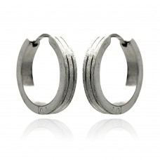 Wholesale Stainless Steel 2 Line Hoop Earring - SSE00088