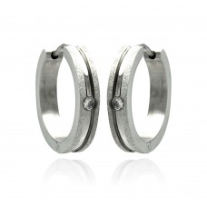Wholesale Stainless Steel Single Clear CZ Hoop Earring - SSE00089
