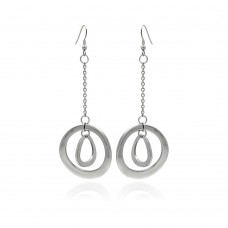 Stainless Steel Double Hanging Disc Hook Earring - SSE00090