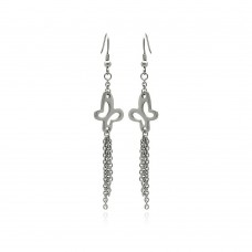 Wholesale Stainless Steel Open Butterfly Hanging Strands Hook Earring - SSE00091