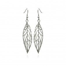 Wholesale Stainless Steel Open Leaf Hook Earring - SSE00092