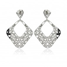 Stainless Steel Double Hanging Disc Stud Earring - SSE00095