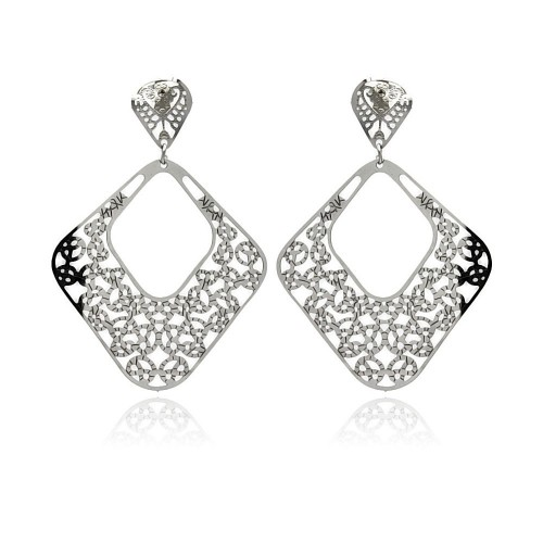 Wholesale Stainless Steel Double Hanging Disc Stud Earring - SSE00095