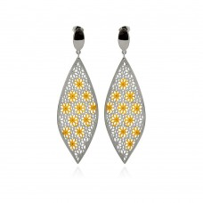 Stainless Steel Two Tone Flower Hanging Stud Earring - SSE00096