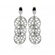 Stainless Steel 3 Disc Outline Hanging Stud Earring - SSE00097