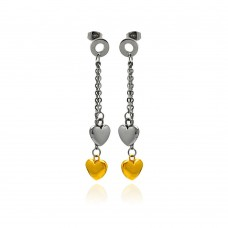 Stainless Steel Two Tone Heart Hanging Stud Earring - SSE00098