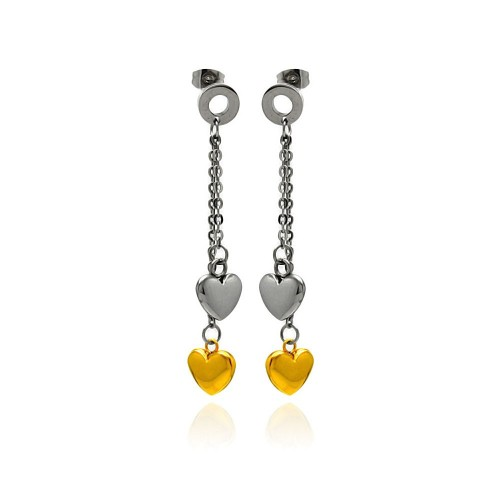 Wholesale Stainless Steel Two Tone Heart Hanging Stud Earring - SSE00098