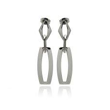Stainless Steel Open Link Hanging Stud Earring - SSE00100