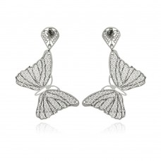 Stainless Steel Mesh Butterfly Hanging Stud Earring - SSE00101