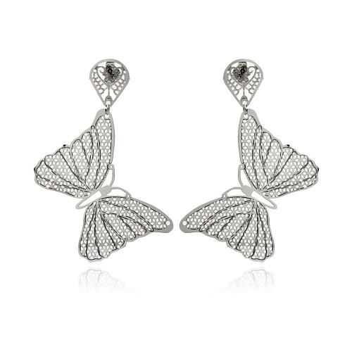 Wholesale Stainless Steel Mesh Butterfly Hanging Stud Earring - SSE00101