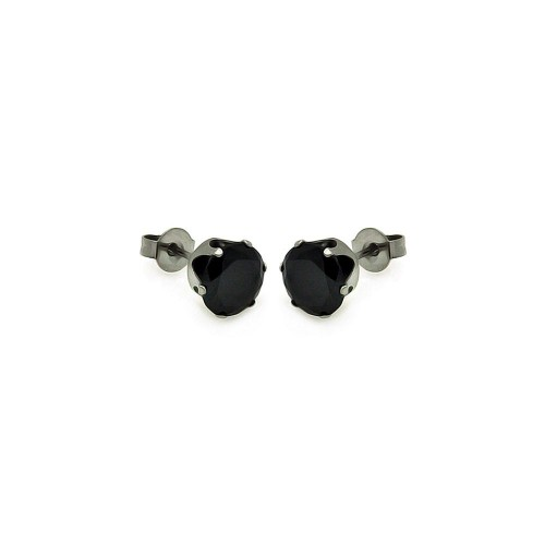 Wholesale Stainless Steel Round Black CZ Stone Stud Earring - SSS00001 BLK RND